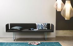 Living room furniture by more. BLOW bench presented with chrome runners, covered with fabric. Bed Springs, Solid Wood Table, Chair Bench, Bed Design, Fabric Design, Contemporary Furniture, Bed Frame, Outdoor Sofa, Upholstery