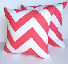 Two zigzag pillow covers, cushion, decorative throw pillow, nautical decor, coral pillow, 18x18 by ThatDutchGirlPillows on Etsy