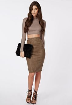 Dharma Ribbed Turtle Neck Long Sleeve Crop Top Taupe - Tops - Missguided