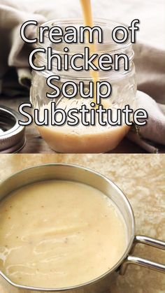 Cream of Chicken Soup Substitute Cream of Chicken Soup Substitute is a quick and easy alternative to canned condensed soups. It's flavorful and perfect for casseroles! Dairy Free Recipes, Gourmet Recipes, Cooking Recipes, Healthy Recipes, Healthy Soup, Delicious Recipes, Salad Recipes, Salt Free Recipes, Uk Recipes