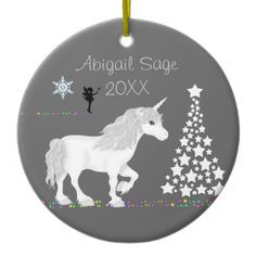 Personalized Unicorn, Fairy and Christmas Tree Ceramic Ornament