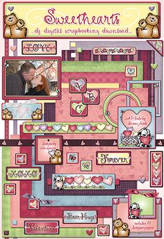 Make your sweetheart smile with a homemade scrapbook, Valentine, love letter or picture frame. Our 'Sweethearts' digital scrapbooking download is full of LOVE, hearts, bear hugs, sweet sayings & puppy love! Just in time to start creating Valentine's Day smiles...  Go to product: http://www.djinkers.com/sweethearts.html