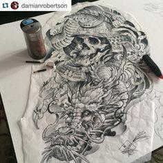 Dragon & skull with kabuto sketch by @damianrobertson #japanesetattooart #japanesetattoodesign #japanesetattoos #japanesetattoo #japaneseart #artwork #art #tattooart #tattooartist #dragon #skull #kabuto