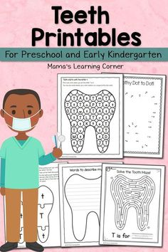 Download a set of teeth printables for your Preschooler or Kindergartner. Perfect for Children's Dental Health Month or a tooth unit study!