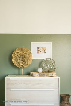A split wall color is a cool way to introduce some brighter color into a bedroom in a way that still feels breezy...
