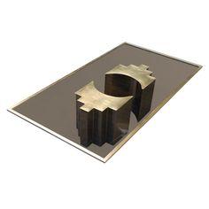 Christian Heckscher coffee table (brass, nickel, glass) - Belgium 1972