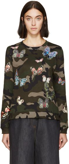 Valentino Green Butterfly Camouflage Pullover