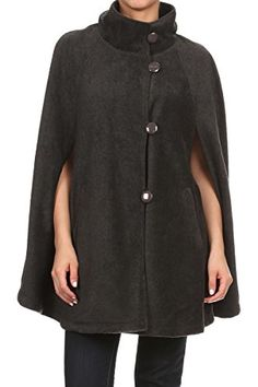 LL Womens Charcoal Gray Warm Open Front Button Fleece Poncho Cape *** Click image to review more details.
