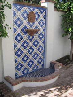 Maybe more cost efficient back patio fountain. Mediterranean Outdoor Fountains, Outdoor Wall Fountains, Patio Fountain, Outdoor Tiles, Mediterranean Garden, Garden Fountains, Dog Fountain, Water Fountains, Outdoor Decor