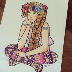 Modern Rapunzel by elenalovesdrawing on Instagram