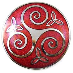 Brooches Store Round Celtic Triskele Trinity Brooch Red Enamel and Silver