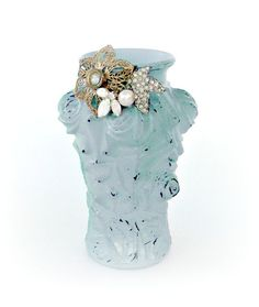 Hand painted Shabby Blue Vase Vintage Jewelry Embellished by Relek, $40.00