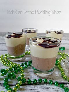 These Irish Car Bomb Pudding Shots are easy to make, have two different puddings, three types of booze and chocolate sauce to really make these YUMMY! #StPatricksDay #Cocktail #Recipe