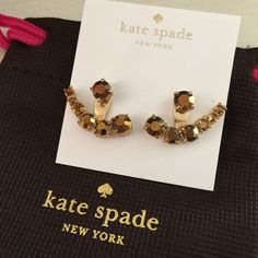 kate spade earrings/jackets. Price firm. kate spade new york Dainty Sparklers Ear Jacket  Earrings. Color-Amber.  Classic and Seasonless! Set the scene and steal the show with trend-right ear jackets that display a bevy of multifaceted crystals that catch and reflect the light at every turn. Polished plated in gold 14-karat gold filled posts DETAILS:          * Approx 1 inches in size        *Pierced Post  clasp (Comes with ks dust bag) kate spade Jewelry Earrings