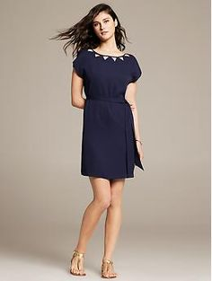 Banana Republic. Navy Cutout Dress - I like the neck line on this one.