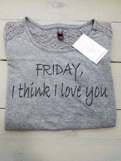 Heathered Grey Lace Friday, I Think I Love You Shirt
