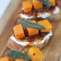 Butternut squash crostini with ricotta, cider caramelized onions, and fried sage – an elegant yet easy appetizer for Thanksgiving!