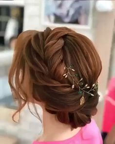 Braided Hairstyles For Wedding, Bride Hairstyles, Hairstyle Ideas, Engagement Hairstyles, Wedding Hairdos, Lower Bun Hairstyles, Long Updo Hairstyles, Chignon Hairstyle, Grecian Hairstyles