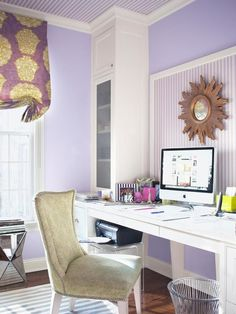 A hard-working mom gives HGTV Magazine a tour of her great-looking updated family room, kitchen, home office, kid's room and mudroom. Home Office Design, Office Decor, House Design, Purple Office, Hgtv Magazine, Purple Walls, My Living Room, Small Living, Smart Home