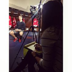 """A Saturday morning discussing hockey with @dylanlarkin71 is a Saturday morning well spent. """"The Future is Now"""" episode of #Wingspan airs on @foxsportsdetroit December 1st! #Detroit #RedWings #Hockeytown #LGRW  :: @a_curran"""