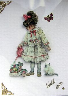 Young Gardener  HandCrafted 3D Decoupage Card  by SunnyCrystals #decoupage #card #kitten #butterfly #girl #birthday