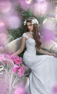 "Milva is a Russian bridal house whose wedding dresses are designed with the elegant bride in mind. The 2016 ""Fairy Gardens"" Collection is pure magic. Next Bridesmaid Dresses, Peach Prom Dresses, Asos Bridesmaid, 2016 Wedding Dresses, Wedding Gowns, Lazaro Bridal, Bridal Gowns, Green Evening Gowns, Goth Dress"