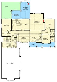 Spacious Craftsman House Plan with Mega-Bonus Room - floor plan - Main Level Best House Plans, Dream House Plans, House Floor Plans, Architectural Design House Plans, Architecture Design, Contemporary Architecture, Interior Columns, Upstairs Bedroom, Master Bedroom