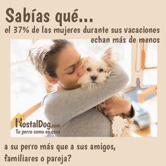¿Sabías que el 37% de las mujeres durante sus vacaciones echan más de menos a su #perro más que a sus amigos, familiares o pareja? #frases www.hostaldog.com