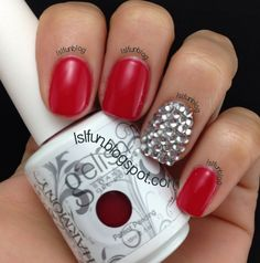 Gelish Red With Swarovski Crystal Accent Nail #gelish #swarovski #nailart
