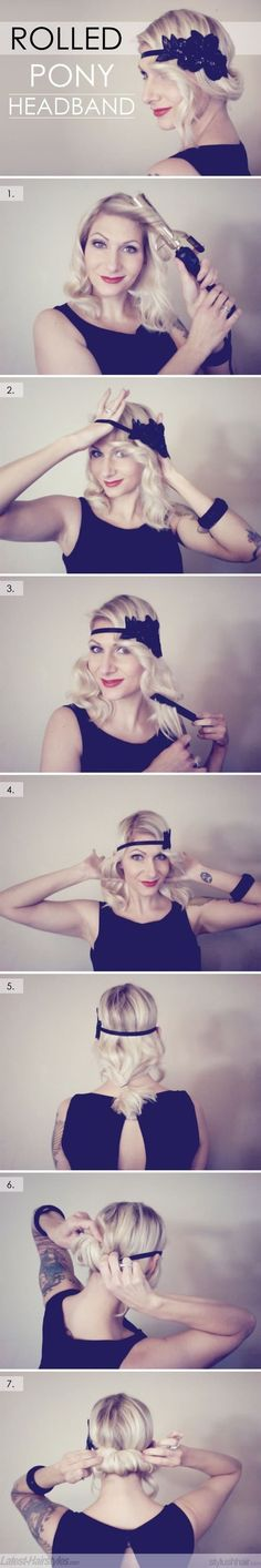 Love this...if I ever go to a 20's party Retro Hairstyles, Headband Hairstyles, Gatsby Hairstyles For Long Hair, Short Ponytail Hairstyles, Hairstyle Man, Hair Styles Headband, Latest Hairstyles, Diy Party Hairstyles, Flapper Hairstyles