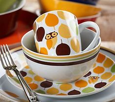 Rachael Ray owl dinnerware