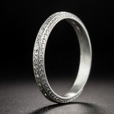 Art Deco Platinum Wedding Band by Granat Brothers - Size 9 1/2