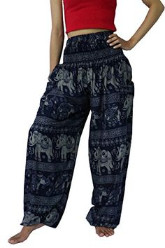 NaLuck Womens Boho Hippie Elephant Smocked Waist Yoga Baggy Harem Pants PJ20Navy3 -- Read more at the image link.