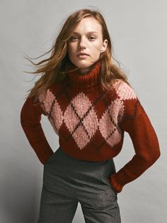 Wool Sweaters, Pullover Sweaters, Fair Isle Knitting Patterns, Jumpers For Women, Women's Jumpers, Black Leather Ankle Boots, Plaid Pattern, Pulls, Knit Cardigan
