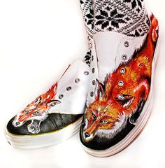 Shoes hand painted original Art with Foxes, size 9 US. $48.00, via Etsy.