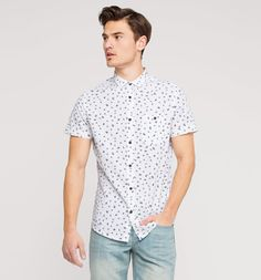 Leisure shirt in white / black