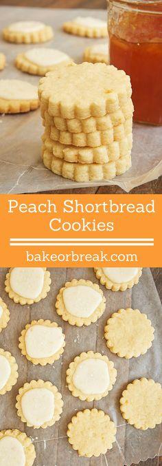 Peach preserves add a fruity twist to traditional shortbread in these delightful Peach Shortbread Cookies. - Bake or Break ~ http://www.bakeorbreak.com