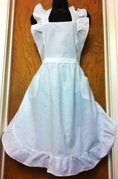 White Victorian Ruffles Lace Cotton Bib Apron Maid Smock Costume Play Halloween