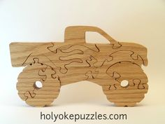Monster Truck Jigsaw Puzzle Intarsia Wood Patterns, Puzzle Toys, Play Puzzle, Best Jigsaw, Monster Trucks, Woodworking Jigsaw, Scroll Saw Patterns Free, Wooden Jigsaw Puzzles, Wood Creations