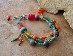 Rustic, Colorful, Tribal Bracelet with Hand made Faux Stone Beads, Boho Bracelet, Colorful Jewelry, Bohemian Jewelry, by Kaye Kraus