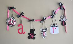 Zebra baby shower decorations Hot Pink and Black