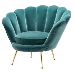 Eichholtz Trapezium Chair – Art Deco shell chair with deep turquoise velvet finish and brass legs. Add a touch of vintage nostalgia to your home interior space with the Eichholtz Trapezium Ch… Art Deco Furniture, Luxury Furniture, Home Furniture, Furniture Design, Furniture Chairs, Room Chairs, Rustic Furniture, Handmade Furniture, Art Deco Sofa