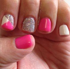 Hot pink nail art design gel nails gel nails pictures, gel n Cute Gel Nails, Glitter Gel Nails, Pretty Nails, Cross Nail Art, Cross Nails, Gel Nail Designs, Cute Nail Designs, Nails Design, Hot Pink Nails