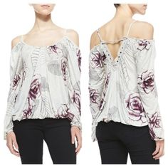 NWT Free People Adelia Cold Shoulder Top A new with tag Adelia Rose-Print Cold-Shoulder Blouse. Free People slub-knit blouse in rose print. Scoop neckline. Long cold-shoulder bishop sleeves with small straps at shoulders. V'd cutout back with marquis crochet trim. Blouson silhouette. Elasticized hem. Pullover style. Viscose. Imported. Free People Tops