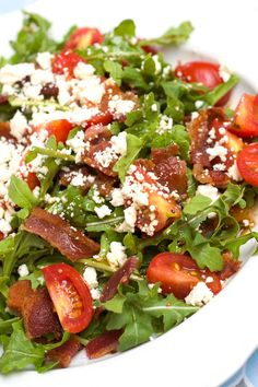 BLT Salad with Arugula, Feta and Balsamic Vinaigrette