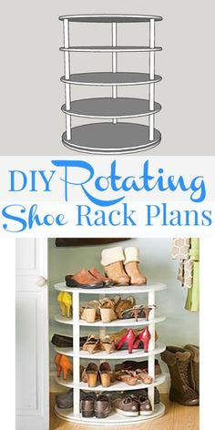 DIY rotating shoe rack - free plans on Remodelaholic.com #organization #DIY