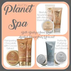Escape, Relax, and Indulge with Avon Planet Spa Bath & Body lines! | Beth Bailey's Avon Blog | Avon's Planet Spa is an at-home spa experience that will give you a variety of scents while pampering your skin! We have 3 different lines to suit you: Blissfully Nourishing, Perfectly Purifying, and our Limited Edition Pampering Chocolate.