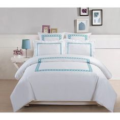 5-Piece Hotel Collection 500 Thread Count Cotton Embroidered Duvet Cover Set at Walmart.com
