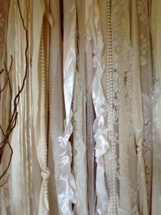 Items similar to Backdrop Lace Wedding Fabric Party Garland Floor Length - Rustic Glamour, Tattered, Shabby, Boho - Photo Booth - Pearls 20 ft x 6 ft on Etsy,Make Your Own Wedding Backdrop Wedding Fabric, Lace Wedding, Dream Wedding, Our Wedding, Wedding Ideas, Wedding Ceremony, Reception, Ribbon Backdrop, Fabric Garland
