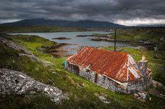 Golden Road. Derelict Cottage. Isle of Harris. Scotland. Highlands and Islands.